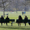People sit on park benches, as they enjoy the sunny weather at the English Garden in downtown Munich April 8, 2010.  REUTERS/Michaela Rehle (GERMANY - Tags: ENVIRONMENT SOCIETY) - RTR2CK9W