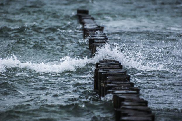 Breakwater Stormy Water Spray Sea Wave Windy