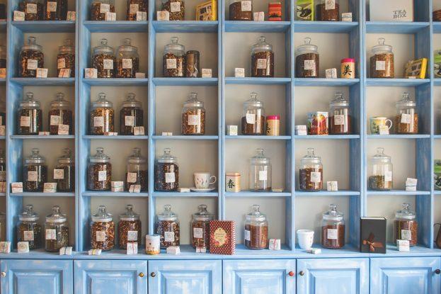 Herbal Shop Shelf Jars Store Chinese Herbs